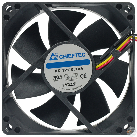 Chieftec AF-0925PWM Ventilator 9cm, w/PWM, 600-2500rpm, 10.5-27.5dB, 4-Pin, Ball Bearing, Black