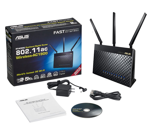 Asus RT-AC68U, ADSL/Cable/Wireless Router, WAN 1x 10/100/1000 Mbps, LAN 4x 10/100/1000Mbps, 802.11n,802.11ac, Napajanje spoljasnji adapter, AC1900 ultimate AC performance: 600+1300Mbps, External antenna x 3, USB 2.0 x 1, USB 3.0 x 1