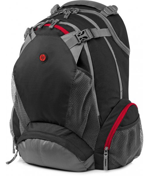 HP Full Featured Backpack 17.3in Case Black/Grey/Red (F8T76AA)