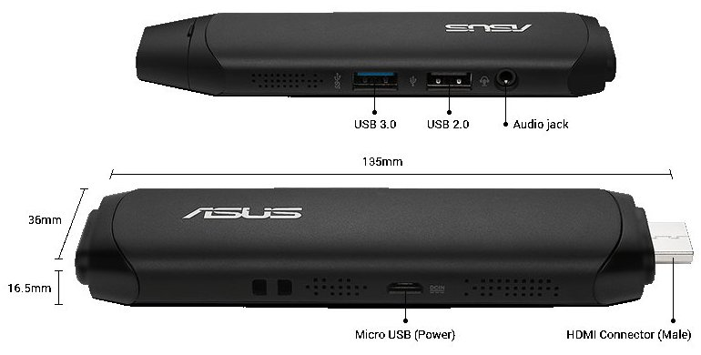 Asus VivoStick TS10-B004D Intel Atom Z8300 Quad Core 1.44GHz (1.84GHz) 2GB 32GB Windows 10 Home 64bit DES05848
