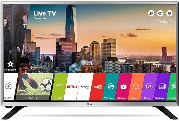 LG 32in 32LJ590U LED TV HD Ready, WebOS 3.5 SMART, T2, Silver, Two pole stand
